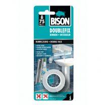 BISON DOUBLEFIX  1 ROL 1,5M X 19MM WIT KAART